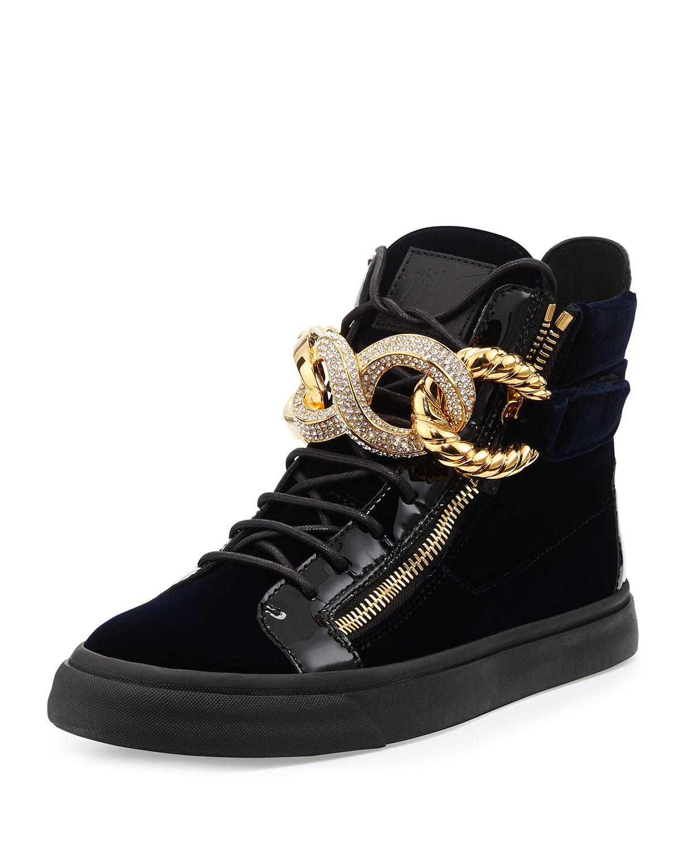 Giuseppe Zanotti Crystal Chainfront Velvet Hightop Sneaker