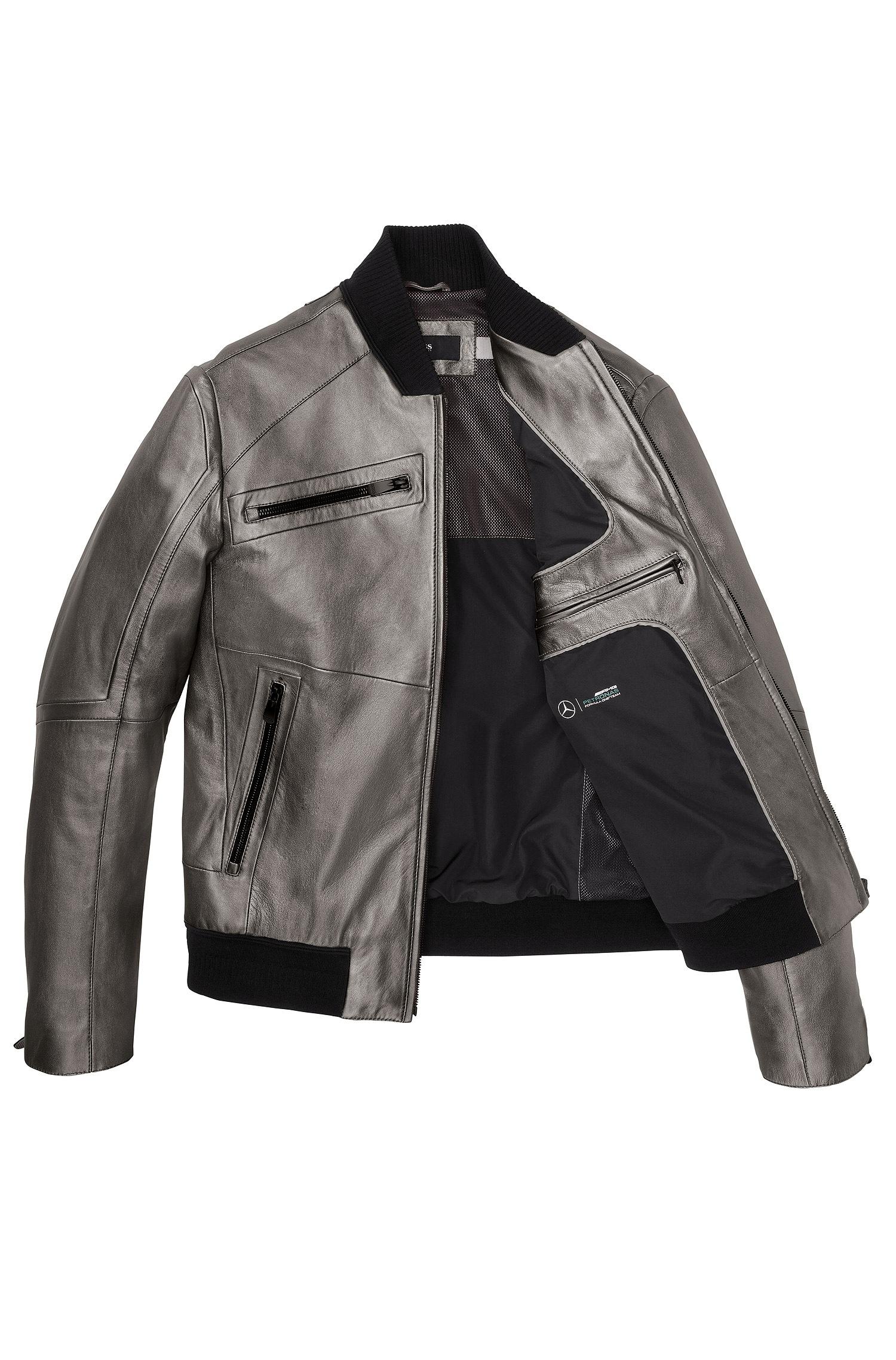 Boss marquel woolblend blazer in blue for men lyst for Mercedes benz leather jacket