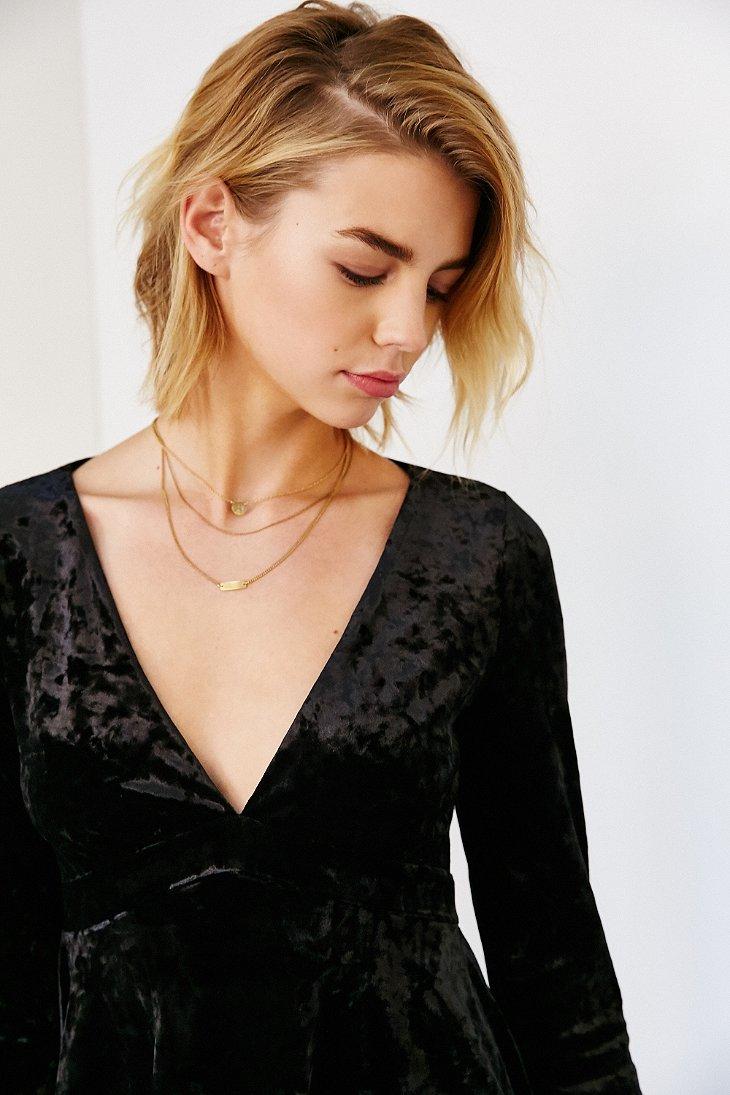 Lyst Kimchi Blue Juliet Velvet Babydoll Dress In Black