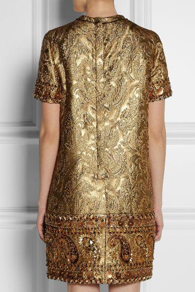 Brocade Dress in Gold