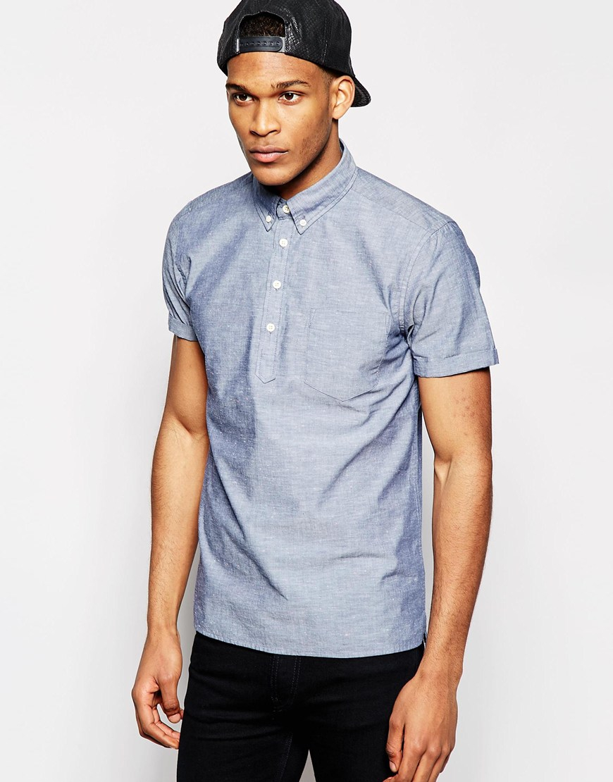 Asos Chambray Shirt In Short Sleeve With Over The Head