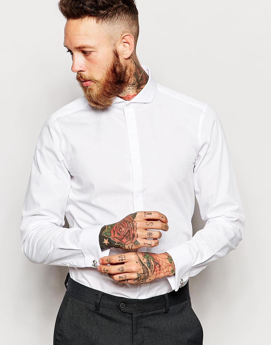 Lyst asos tux shirt with cutaway collar and double cuff for Pin collar shirt double cuff