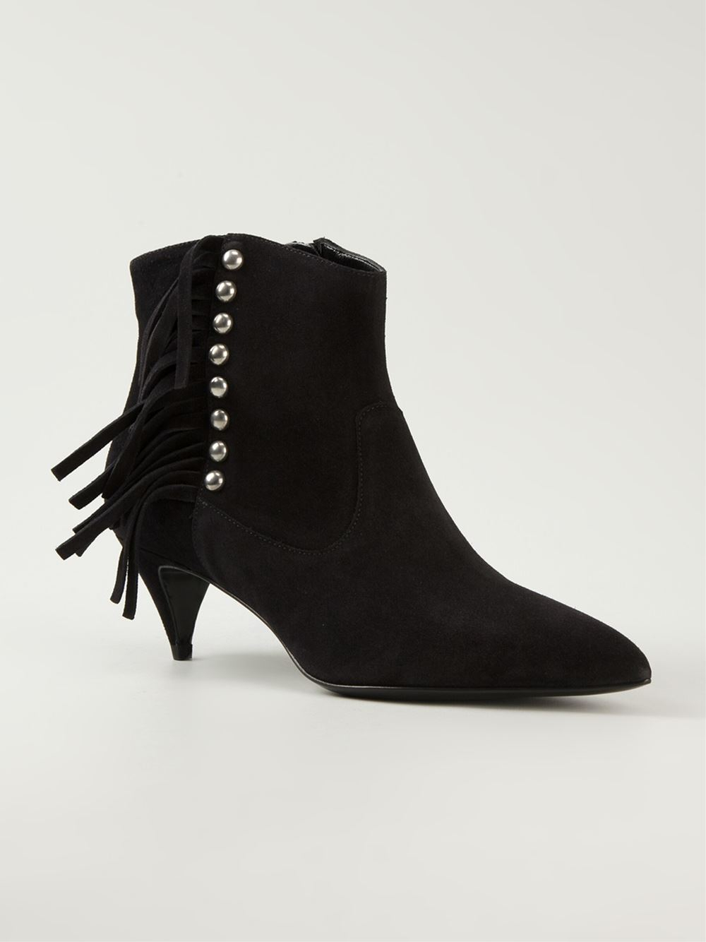 laurent fringed ankle boots in black lyst