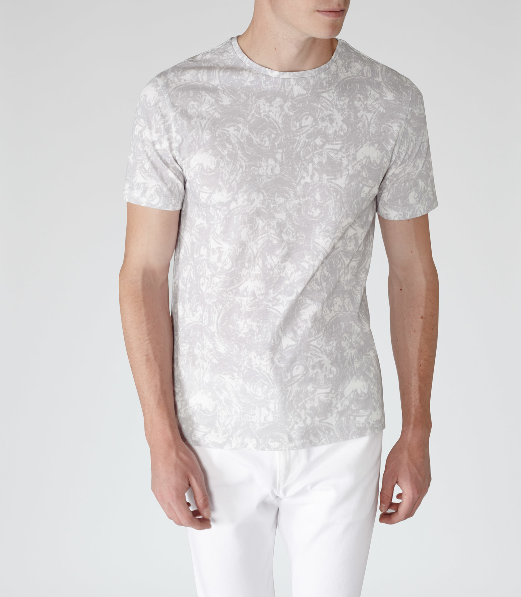 Lyst reiss cogg printed cotton shirt in gray for men for Soft cotton dress shirts