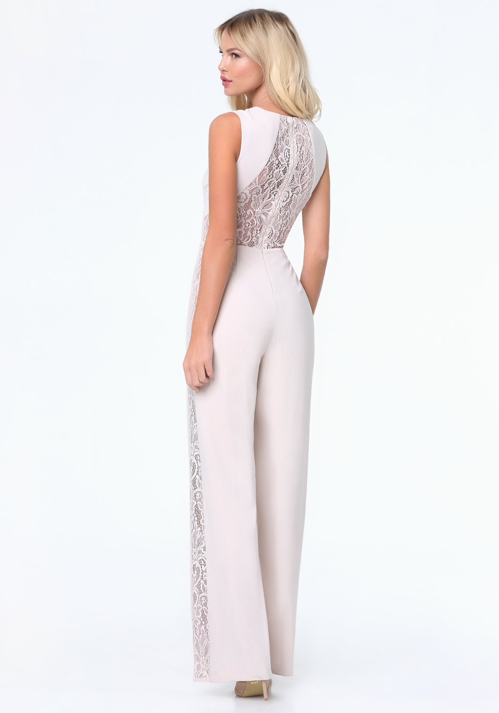 Lyst Bebe Lace Panel Jumpsuit In White