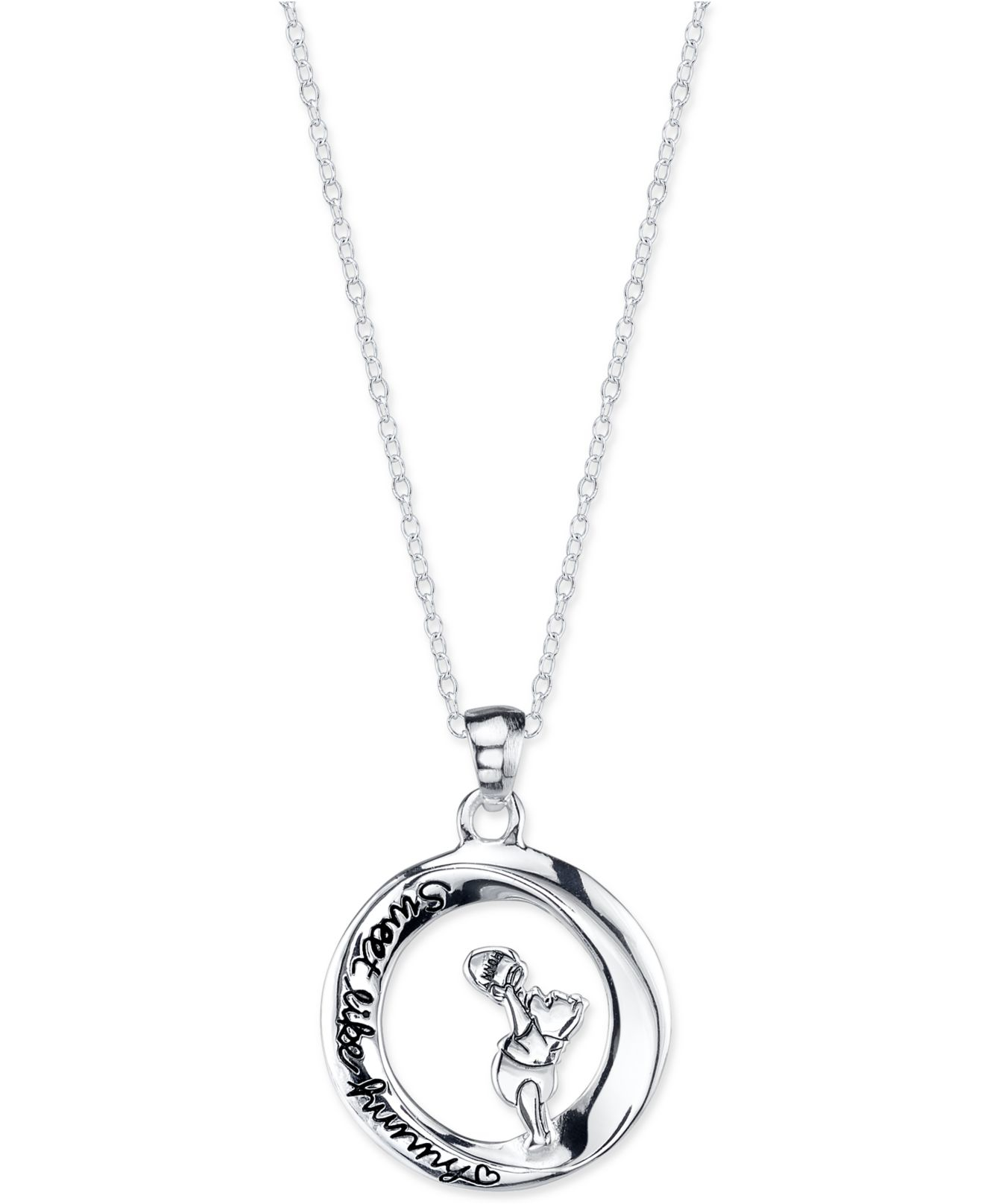 Lyst disney pooh engraved pendant necklace in sterling silver in gallery mozeypictures Images
