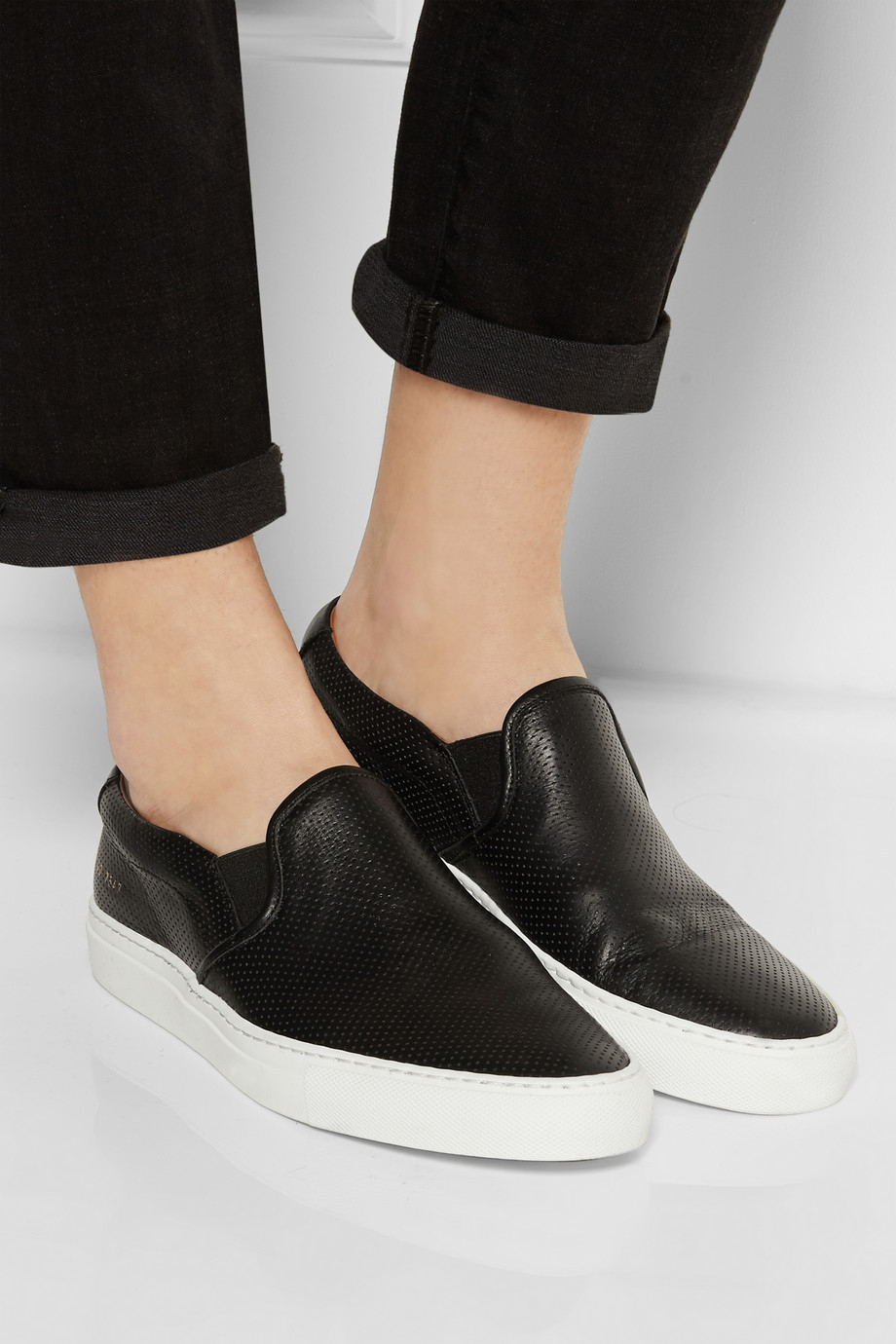 Lyst Common Projects Perforated Leather Slip On Sneakers