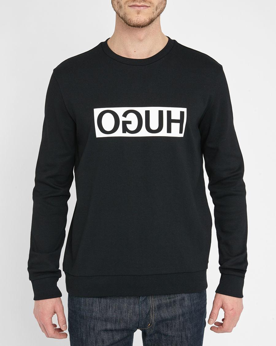 hugo black logo sweatshirt in black for men lyst. Black Bedroom Furniture Sets. Home Design Ideas