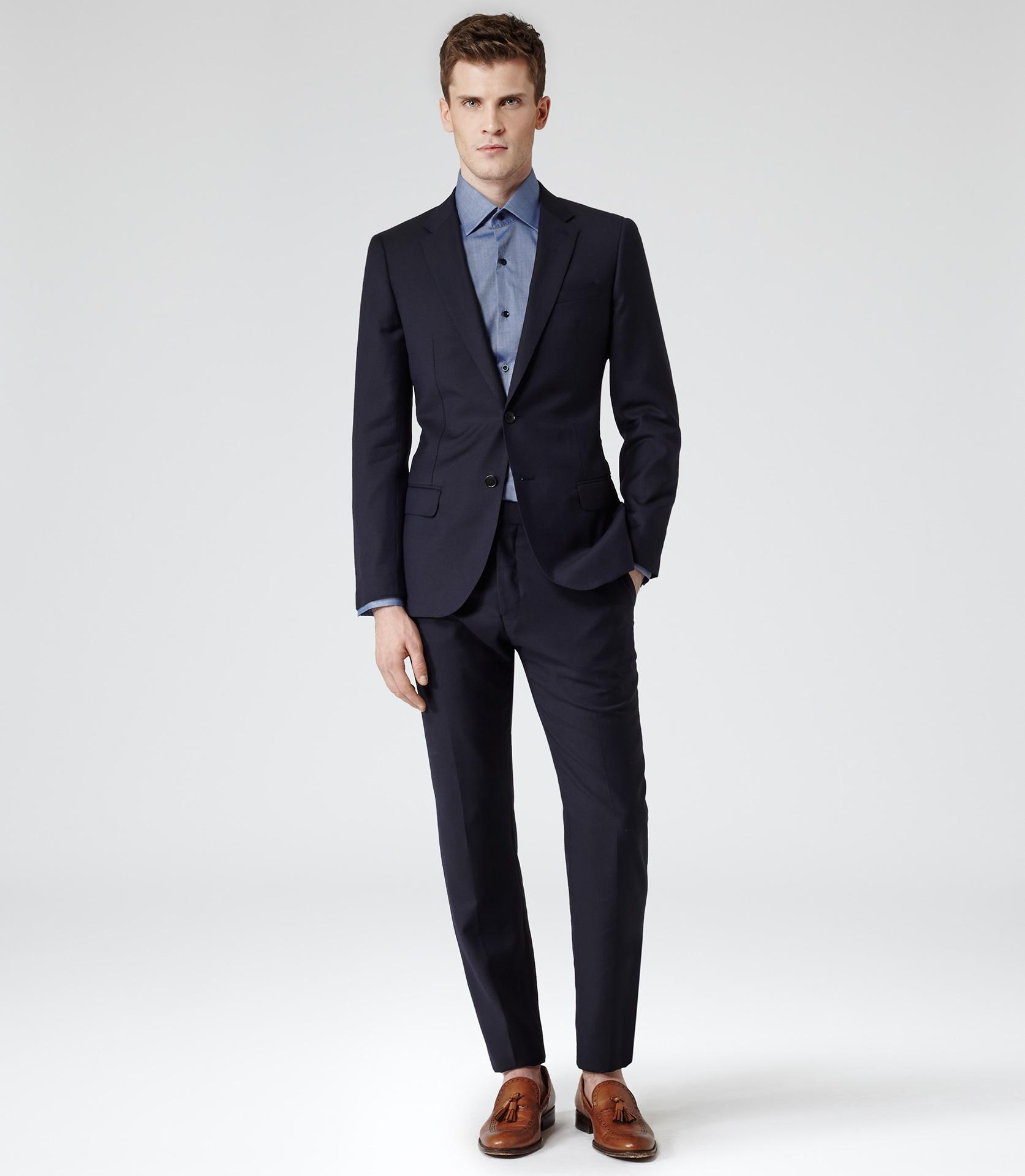 Reiss hareford slim fit formal shirt in blue for men lyst for Trim fit tuxedo shirt