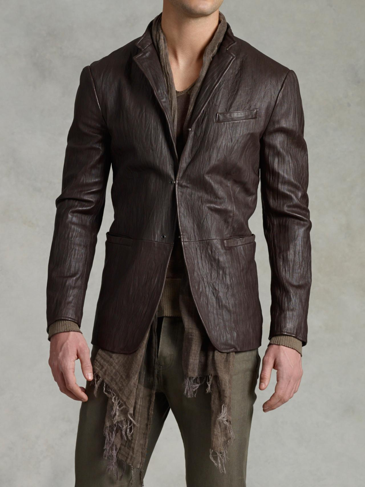 John varvatos Short Collar Leather Jacket in Brown for Men | Lyst
