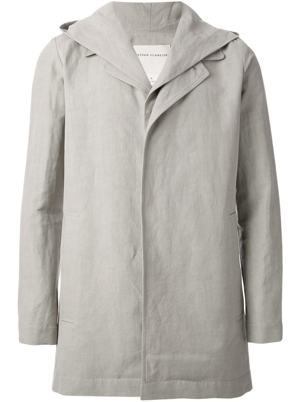 Stephan schneider Long Hooded Jacket in Gray for Men (grey ...