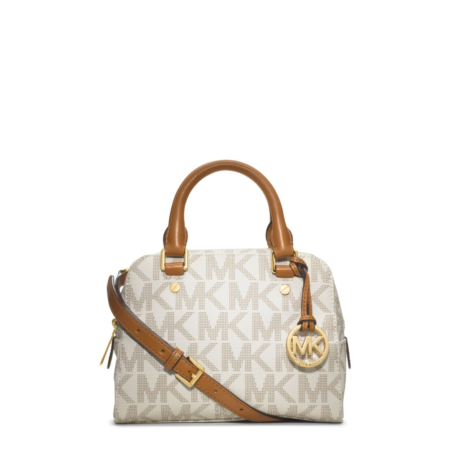 cabc2837ae05 Michael Kors Jet Set Travel Logo Small Satchel in White - Lyst