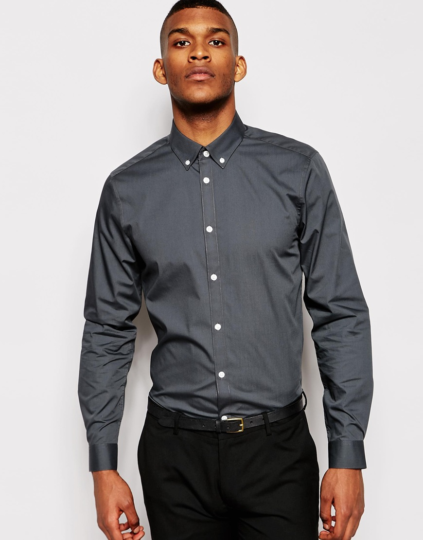 Dark Grey Button Down Shirt | Artee Shirt