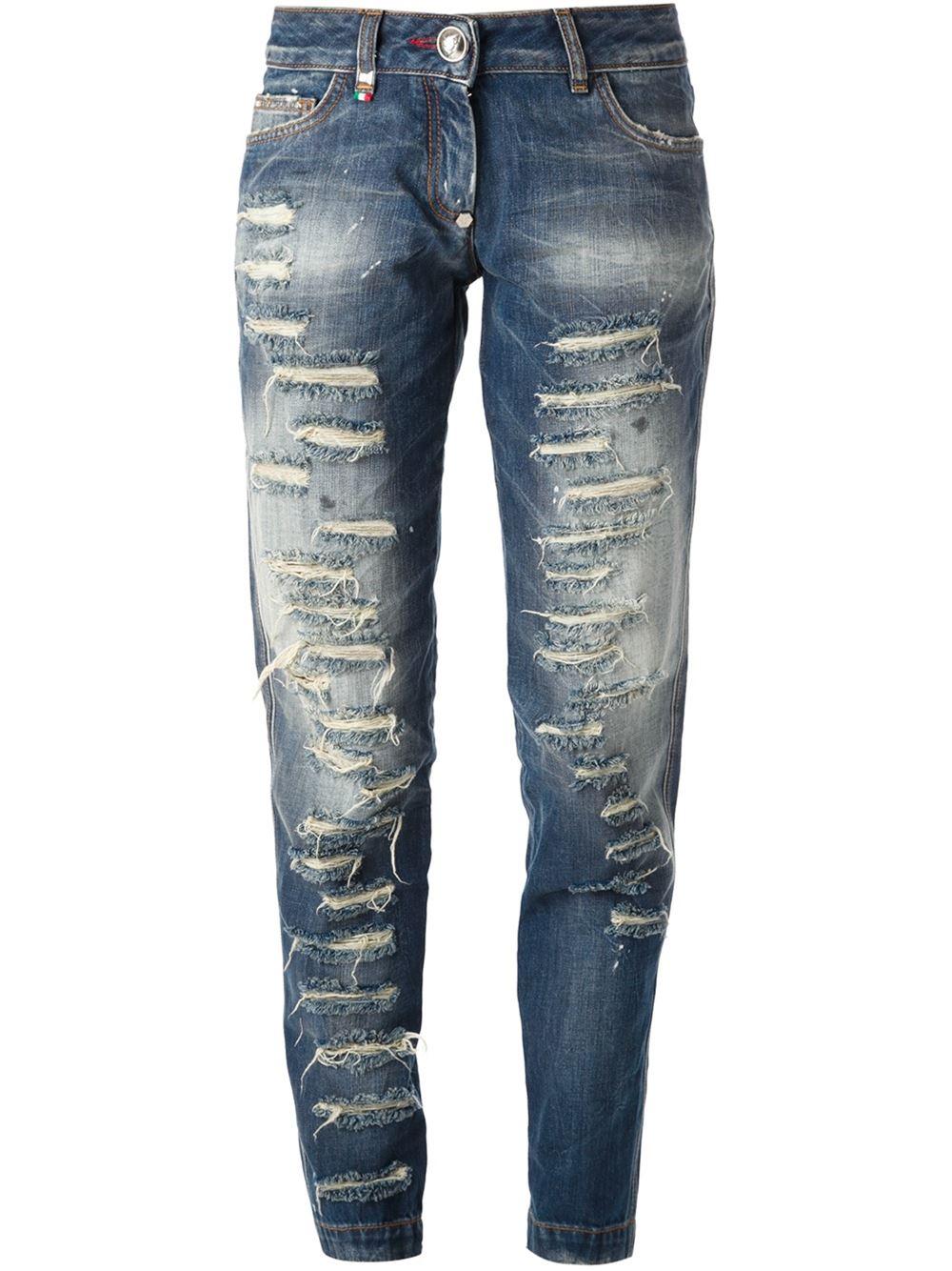 philipp plein distressed boyfriend jeans in blue lyst. Black Bedroom Furniture Sets. Home Design Ideas