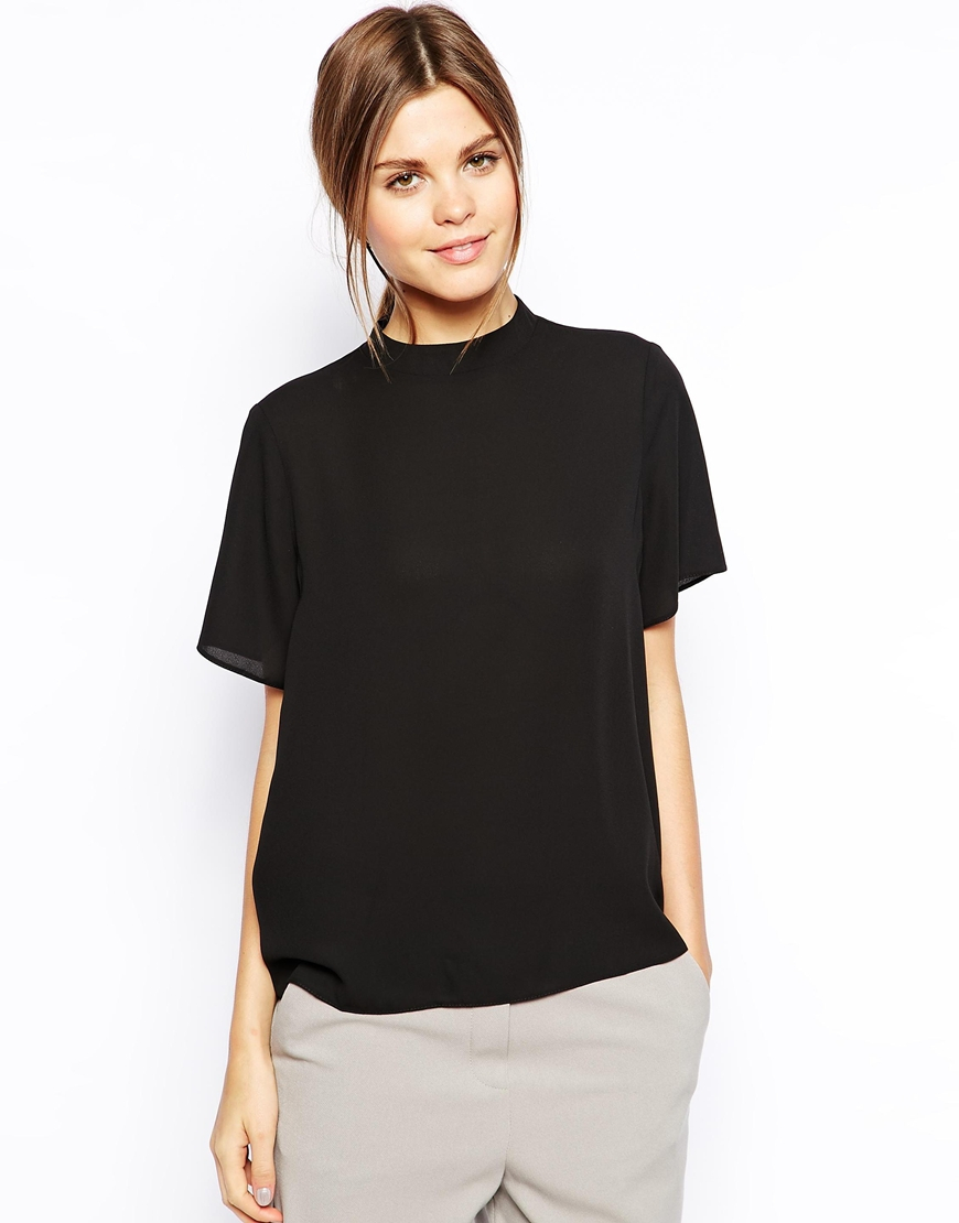 Asos high neck tee shirt in black lyst Womens black tee shirt