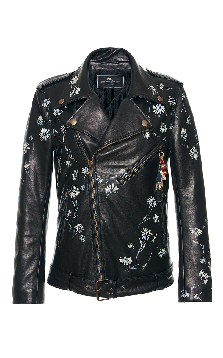 Etro Wildflower Printed Moto Leather Jacket in Black