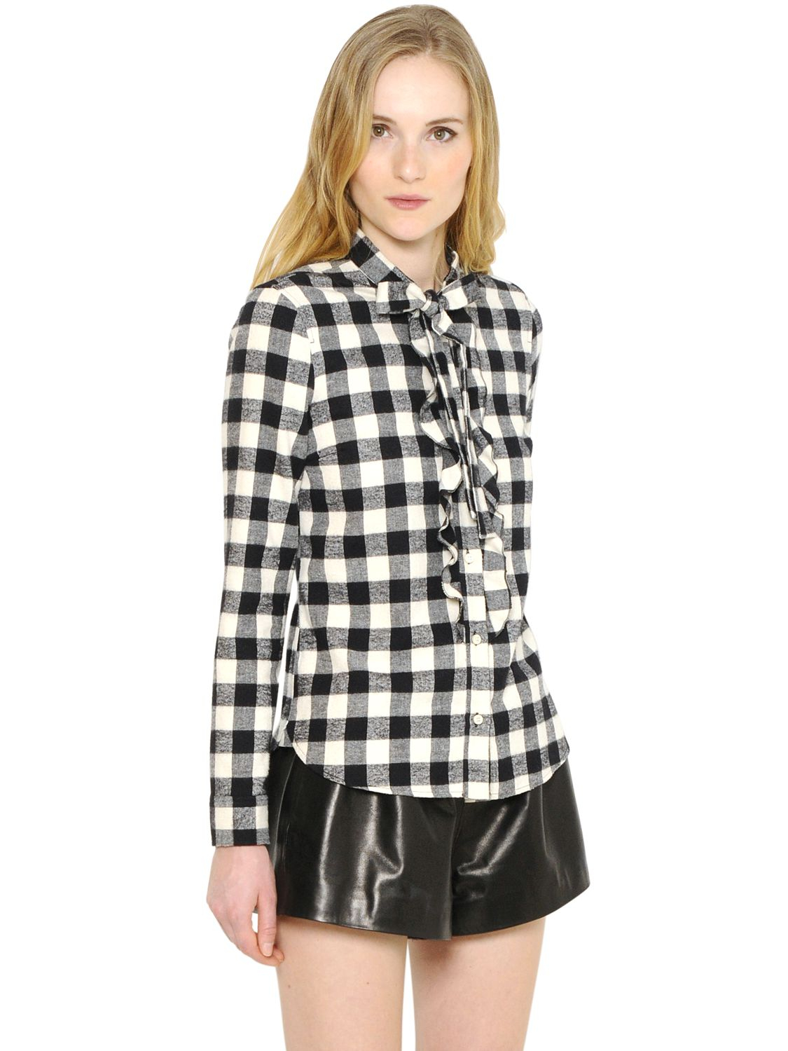 Red valentino check cotton flannel shirt in black lyst for White and black flannel shirt womens