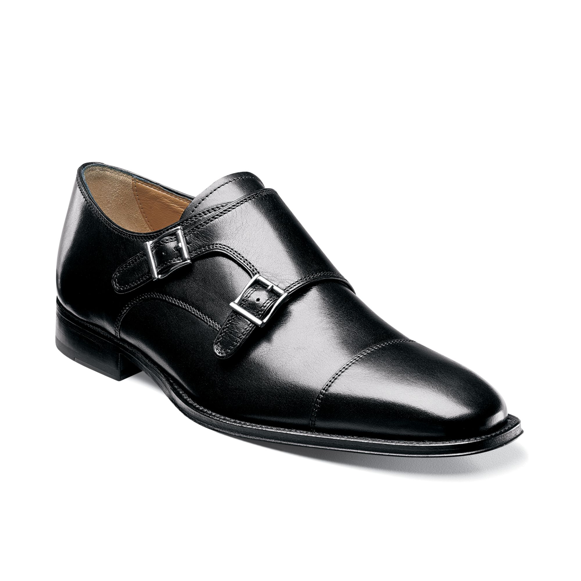 florsheim classico monk shoes in black for lyst