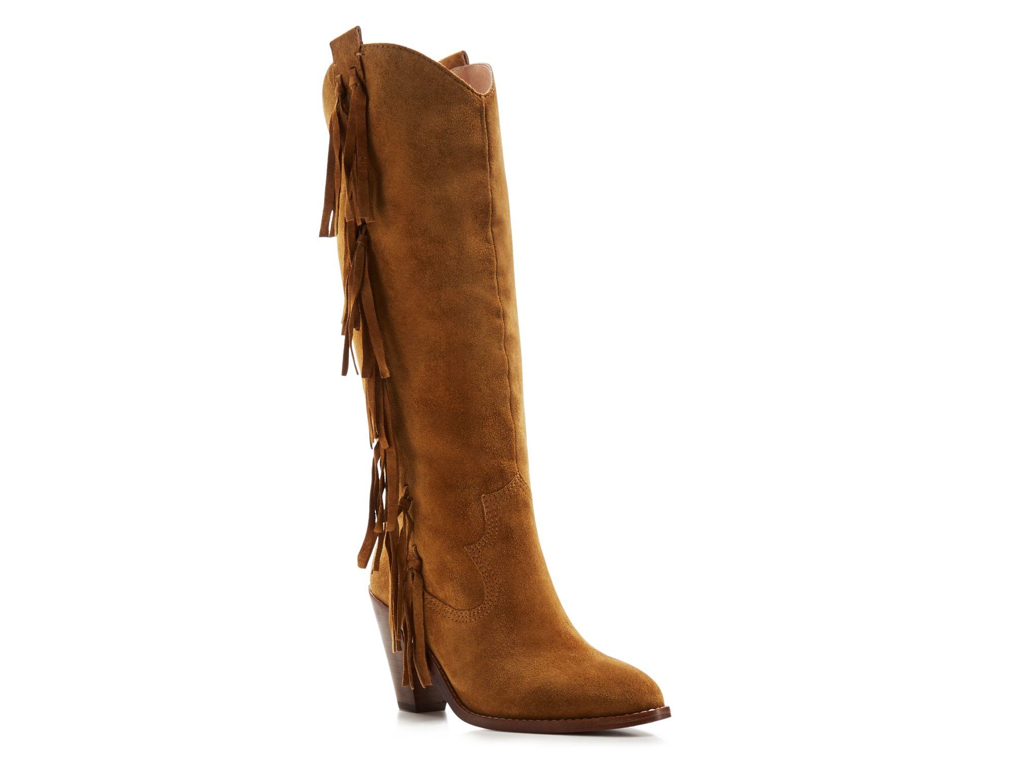 ash suede fringe mid heel boots in beige camel lyst