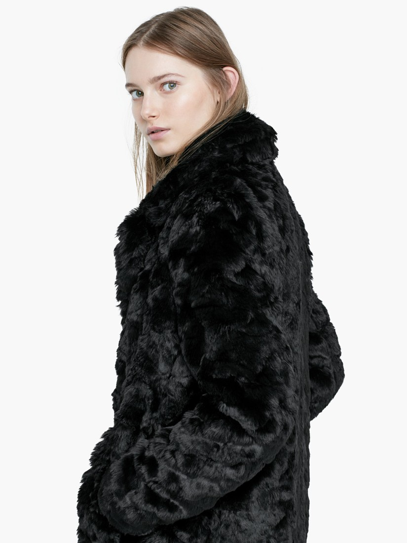 Mango black faux fur coat in black lyst for Lack fur kuchenschranke