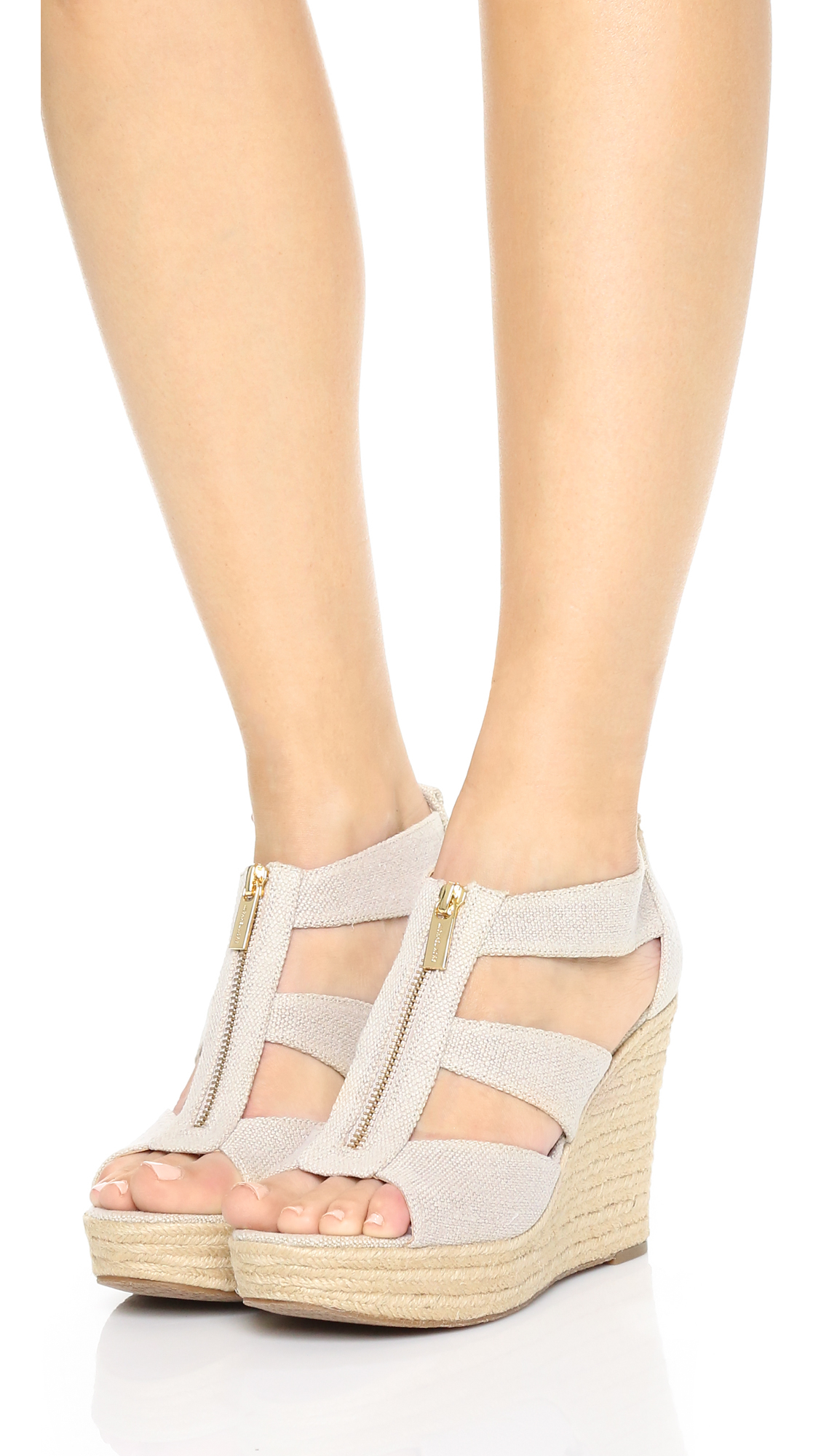 15082a6a9fb Lyst - MICHAEL Michael Kors Damita Wedge Sandals in Natural