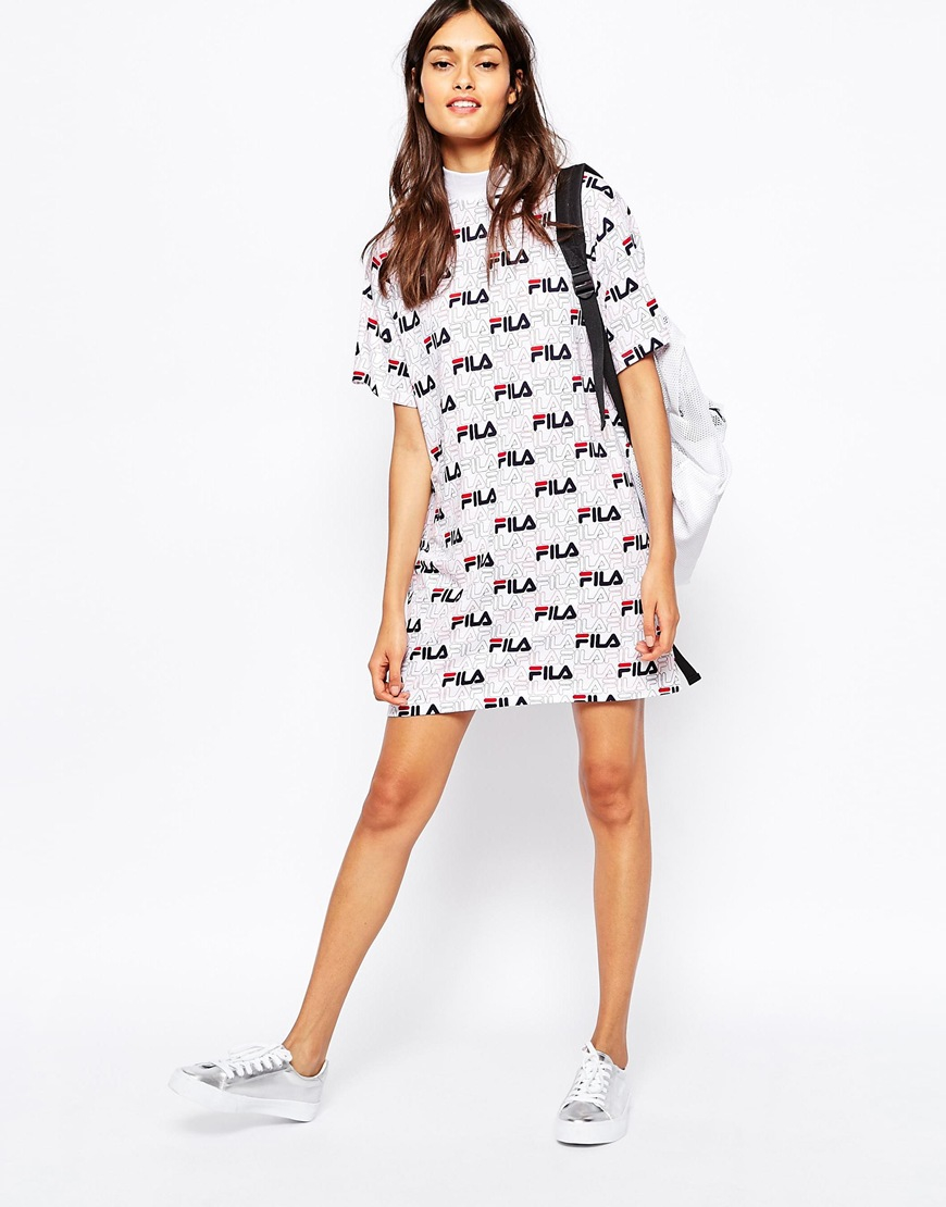 c07e6959ac Fila High Neck T-shirt Dress With All Over Logo Print in White - Lyst