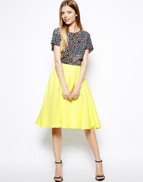 asos midi skirt in bright jacquard in yellow lyst