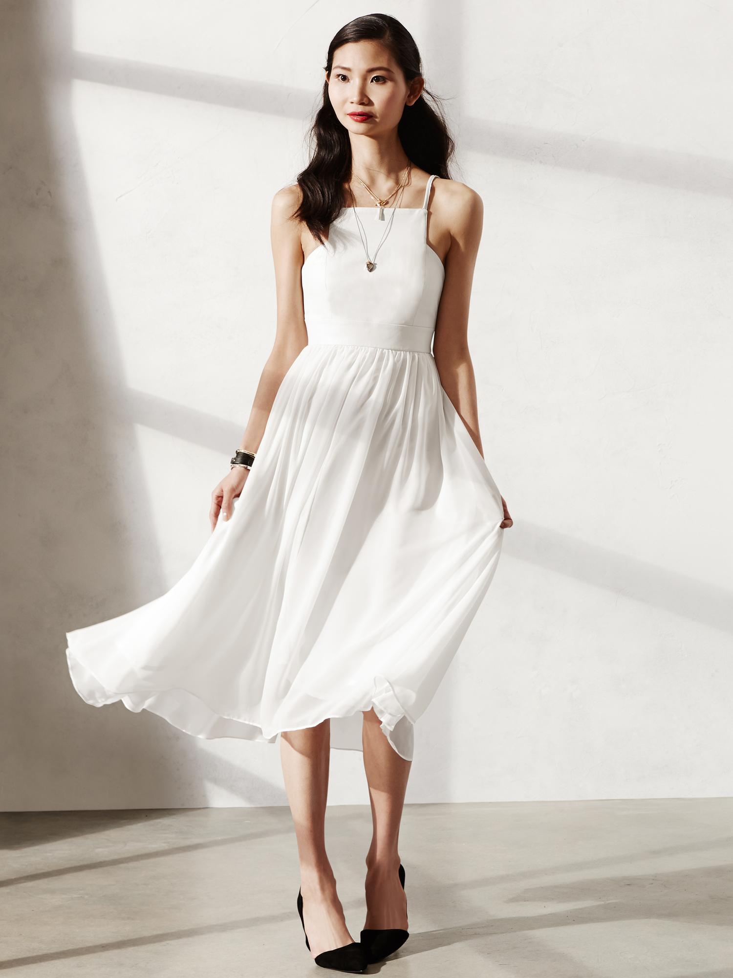Banana republic white linen shift dress