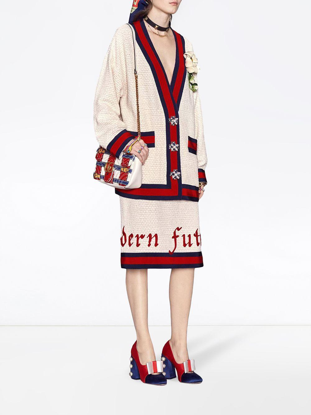 ac379d612 Lyst - Gucci Oversize Tweed Cardigan Jacket in Red