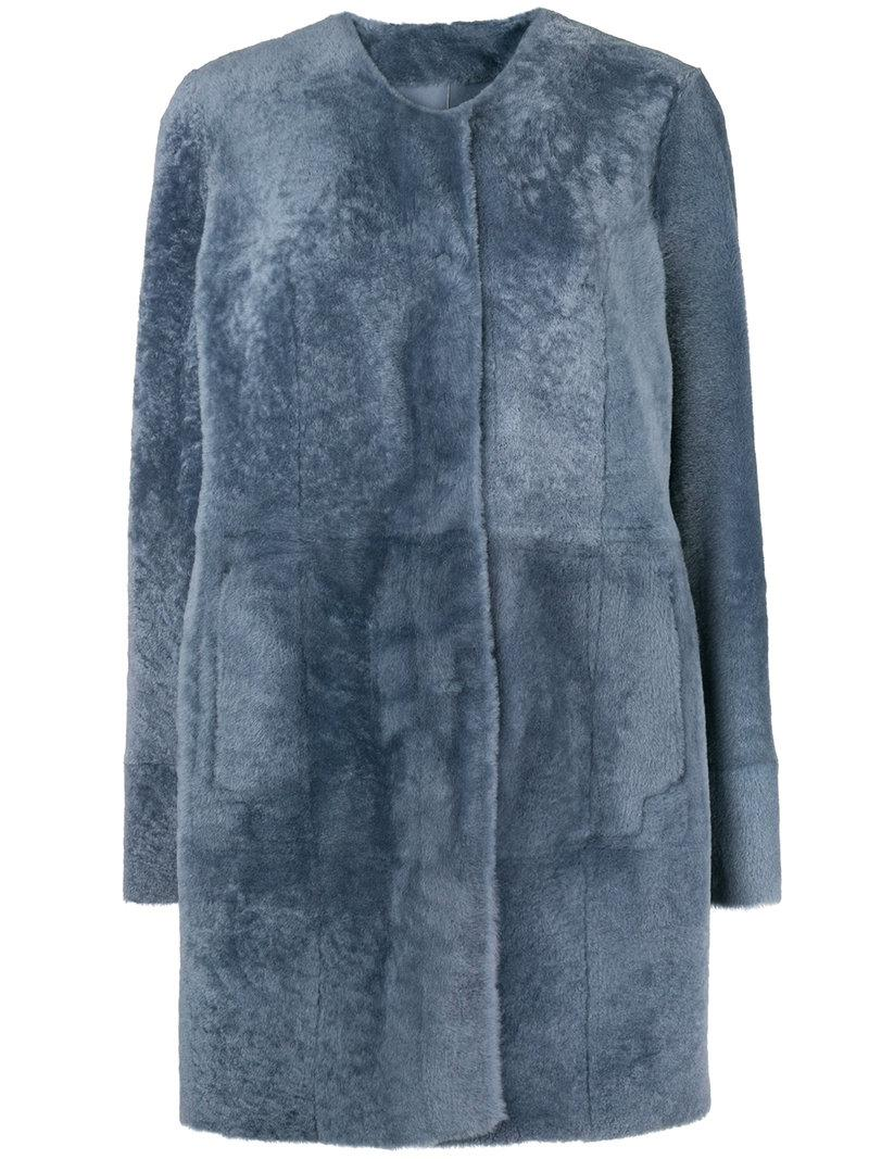 Drome Stud De Femme Fur Bleu Coat Press Coloris q8nRqrS