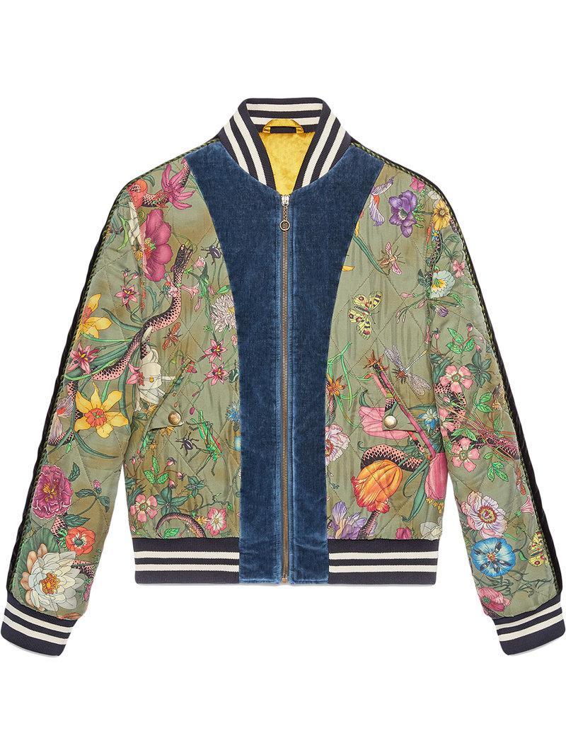 1c156bdef Gucci - Green Flora Snake Print Silk Bomber Jacket for Men - Lyst. View  fullscreen