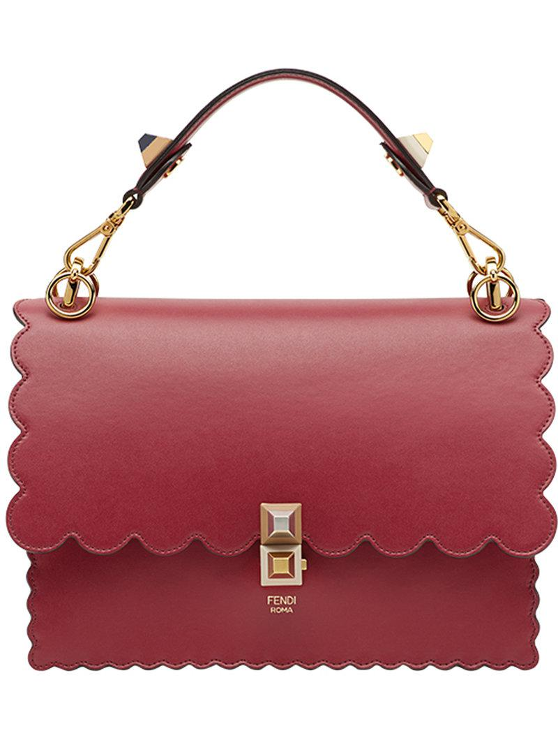 Lyst - Fendi Kan I Scalloped Handbag in Red - Save 13% be82572672a86