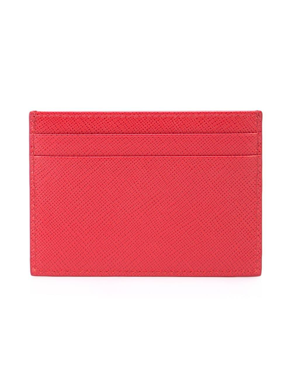 8a68bc4fa09b Lyst - Prada Printed Saffiano Leather Card Holder in Red for Men ...