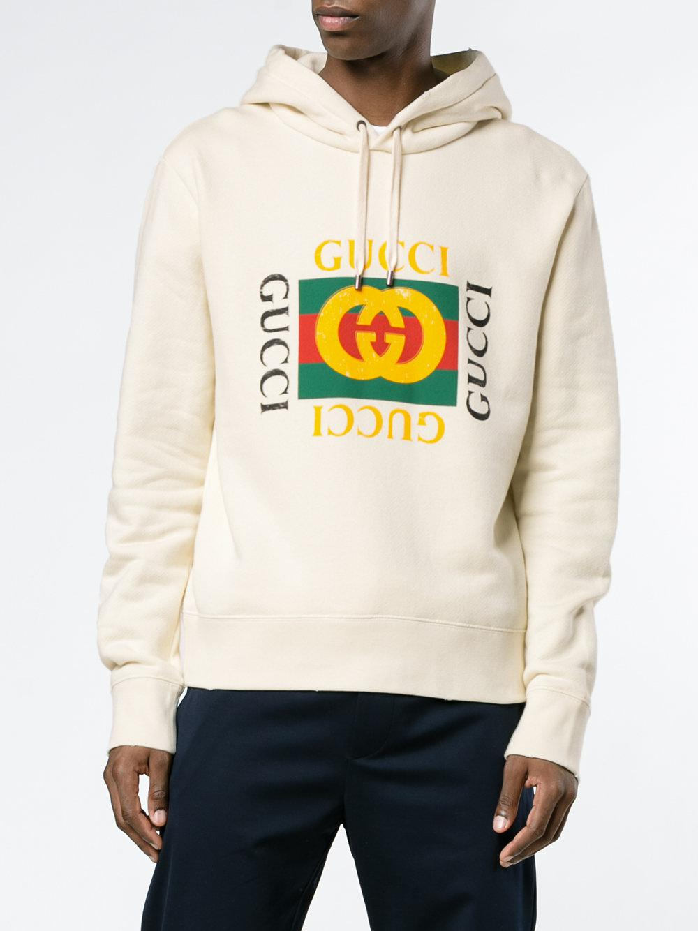 938447138 Gucci Gg Fake Hooded Sweatshirt in Natural for Men - Lyst