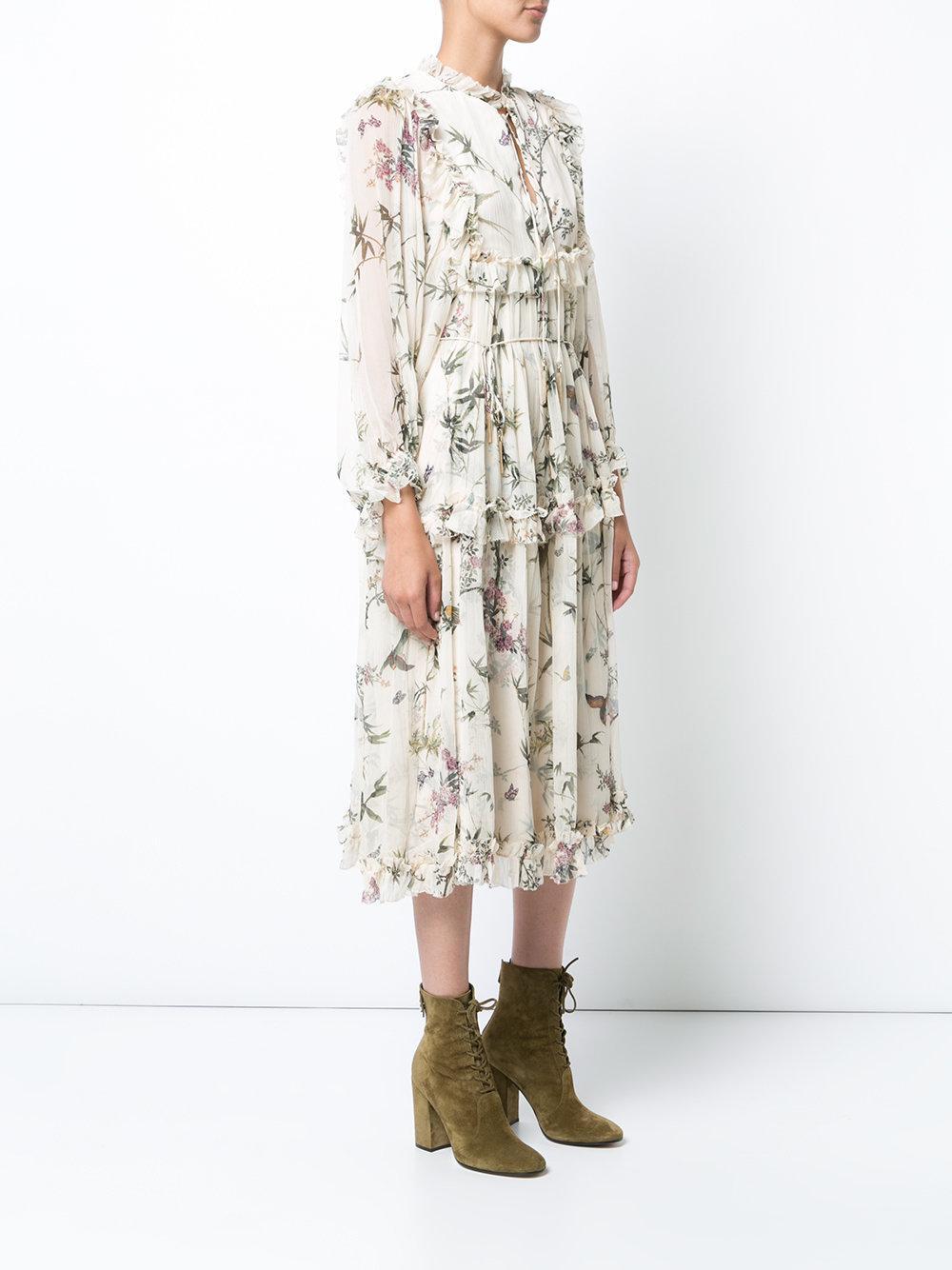 Lyst Zimmermann Maple Print Frill Midi Dress In White