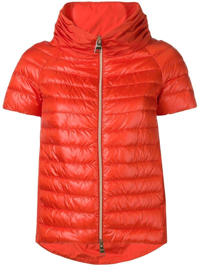 7a54d4807ef Lyst - Herno Short Sleeve Padded Jacket in Orange