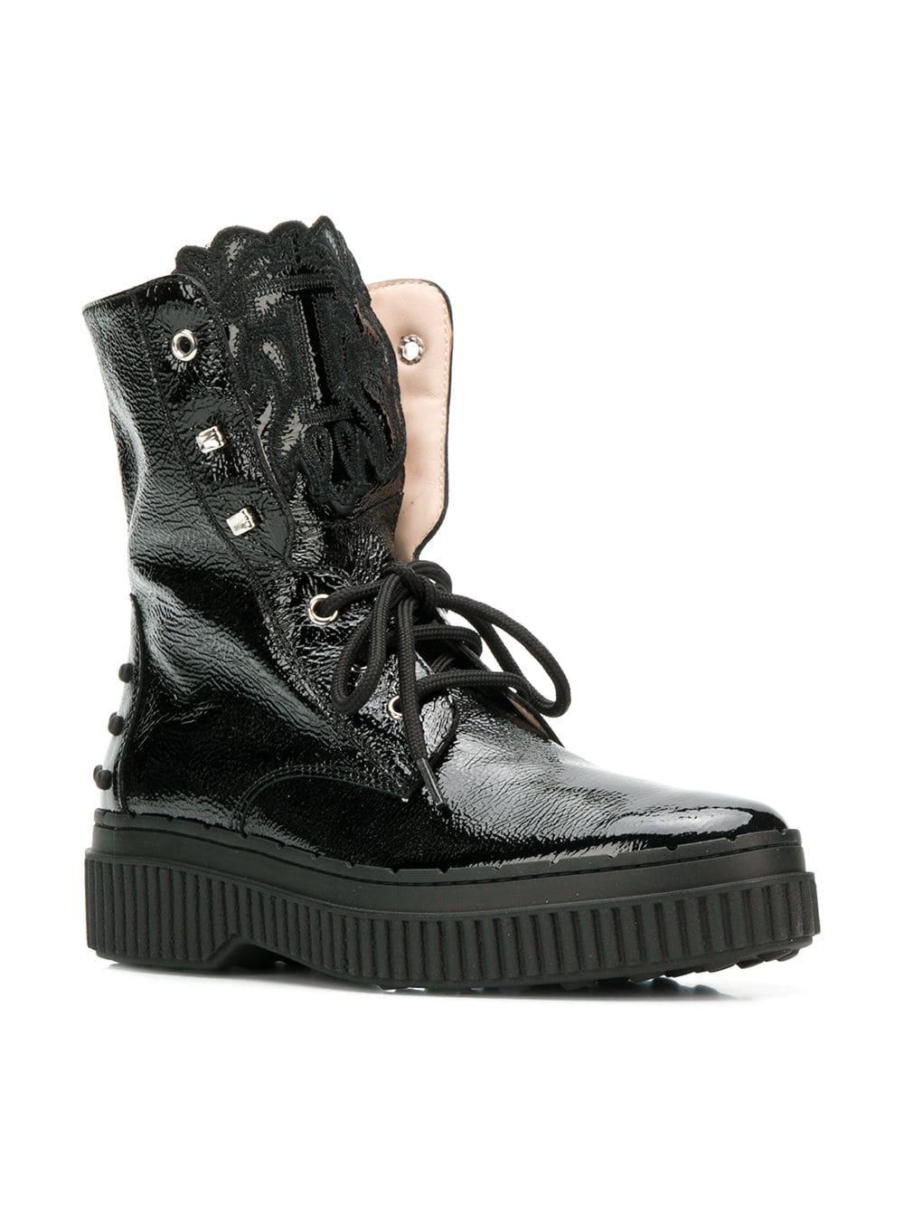 c7a5e502f2b Lyst - Tod s Studded Military Boots in Black