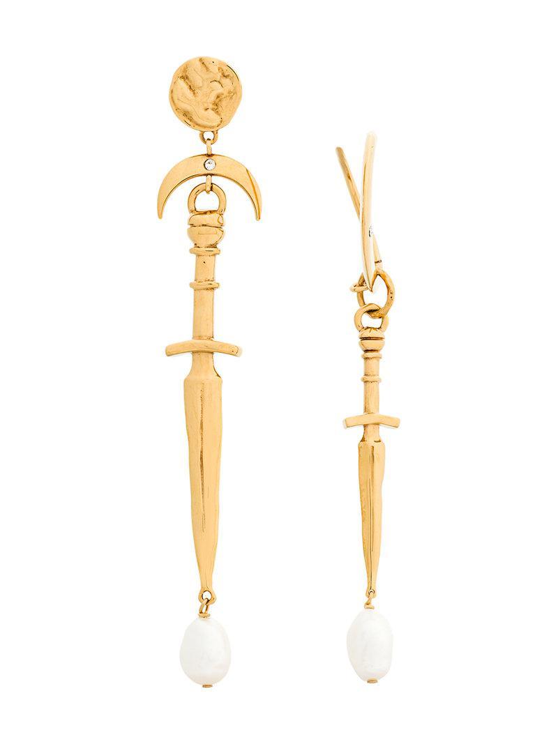 Givenchy asymmetric dangly leaf earrings - Metallic yUkvNf