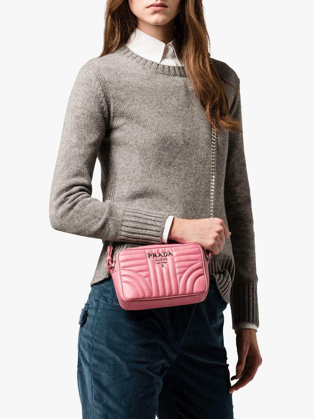 8a8cc6322e72 Lyst - Prada Diagramme Shoulder Bag in Pink