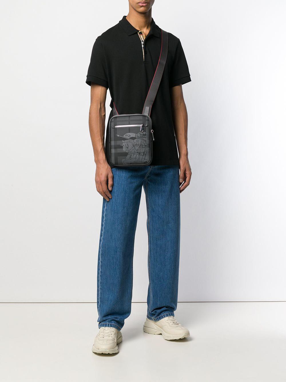Lyst - Burberry Small Ekd London Check Crossbody Bag in Gray for Men 5512f4eb8ae7c
