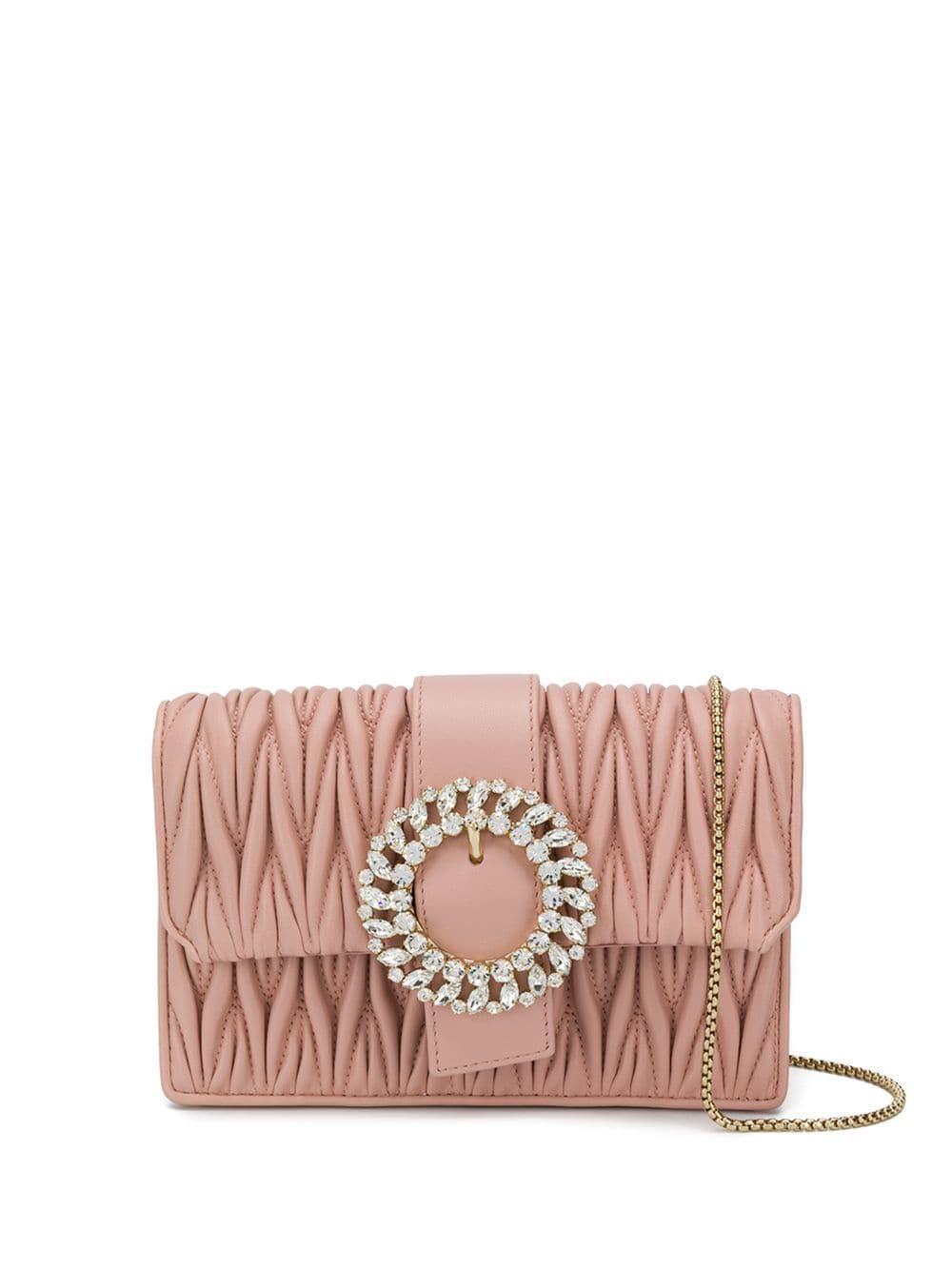 6179df8f87c2e Miu Miu - Pink Matelassé Textured Mini Bag - Lyst. View fullscreen
