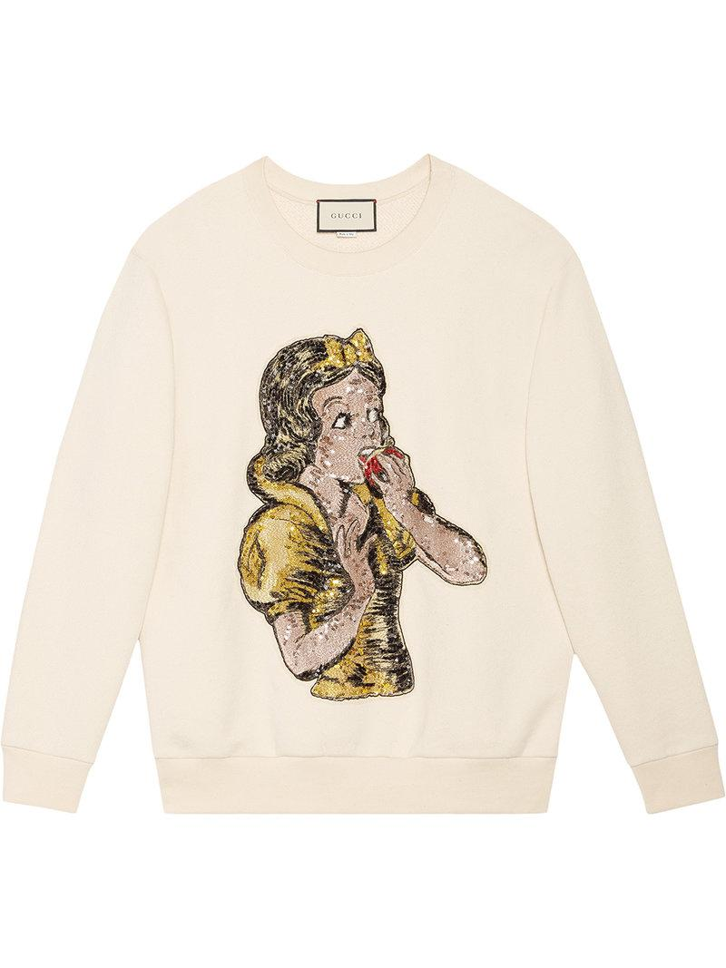 5435daeae0d Gucci Oversize Sweatshirt With Sequin Snow White in White - Lyst