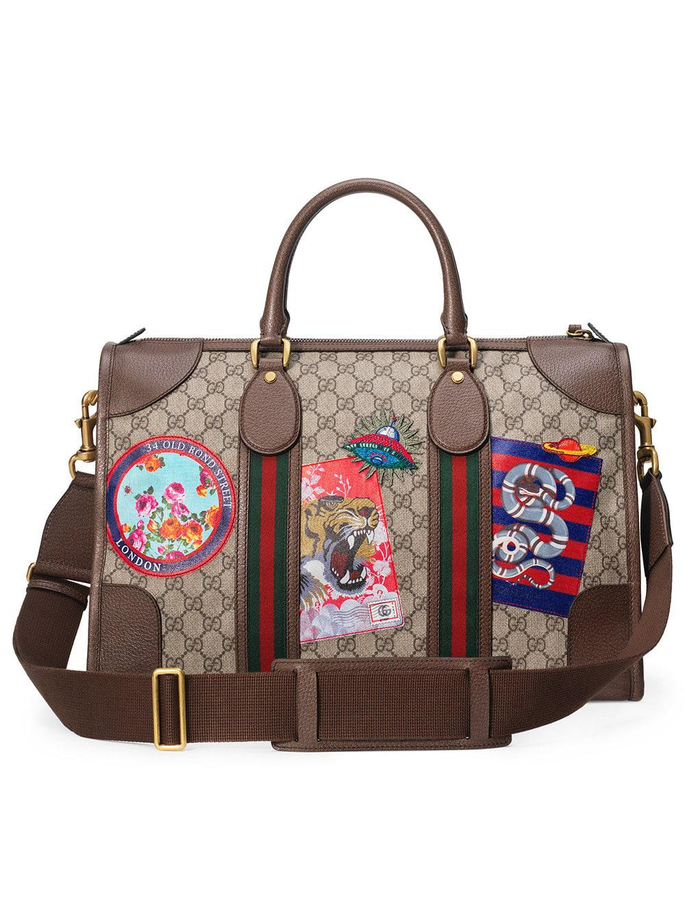 47add77ce4595c Gucci - Multicolor Leather Courrier GG Supreme Duffle Bag - Lyst. View  fullscreen