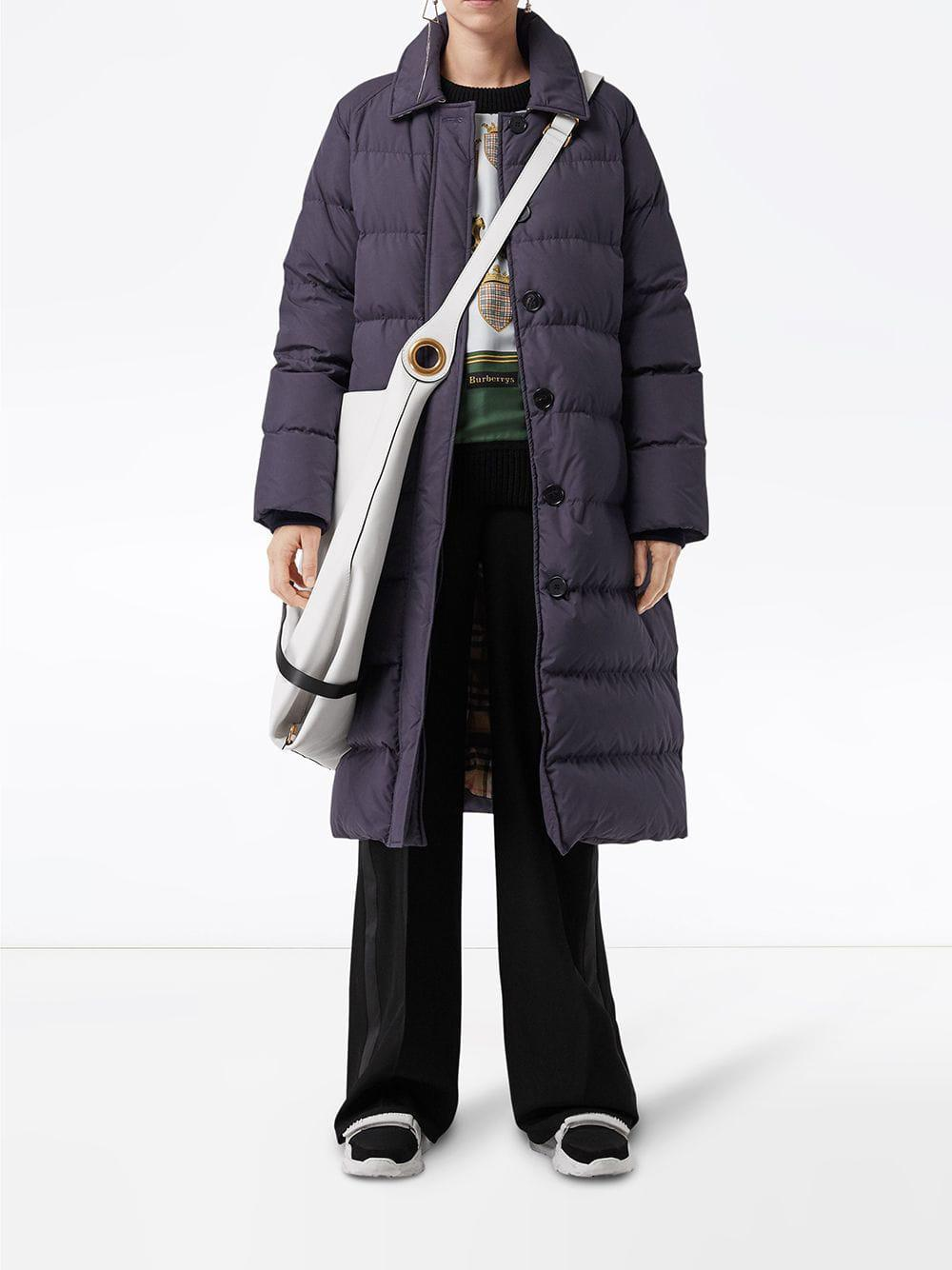 2975d6f34d8 Burberry Belted Long Down-filled Puffer Coat in Blue - Lyst