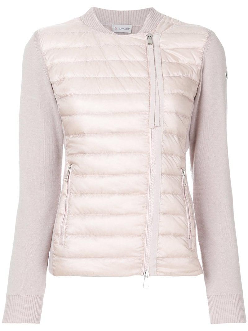 Moncler - Pink Padded Front Knitted Cardigan - Lyst. View fullscreen 33f863de0
