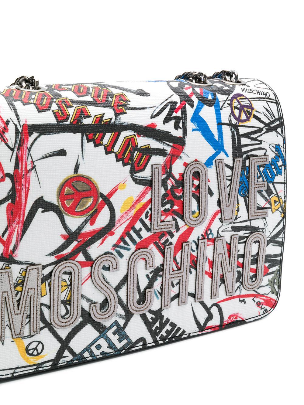 ec79dfca889 Love Moschino Graffiti Shoulder Bag in White - Lyst