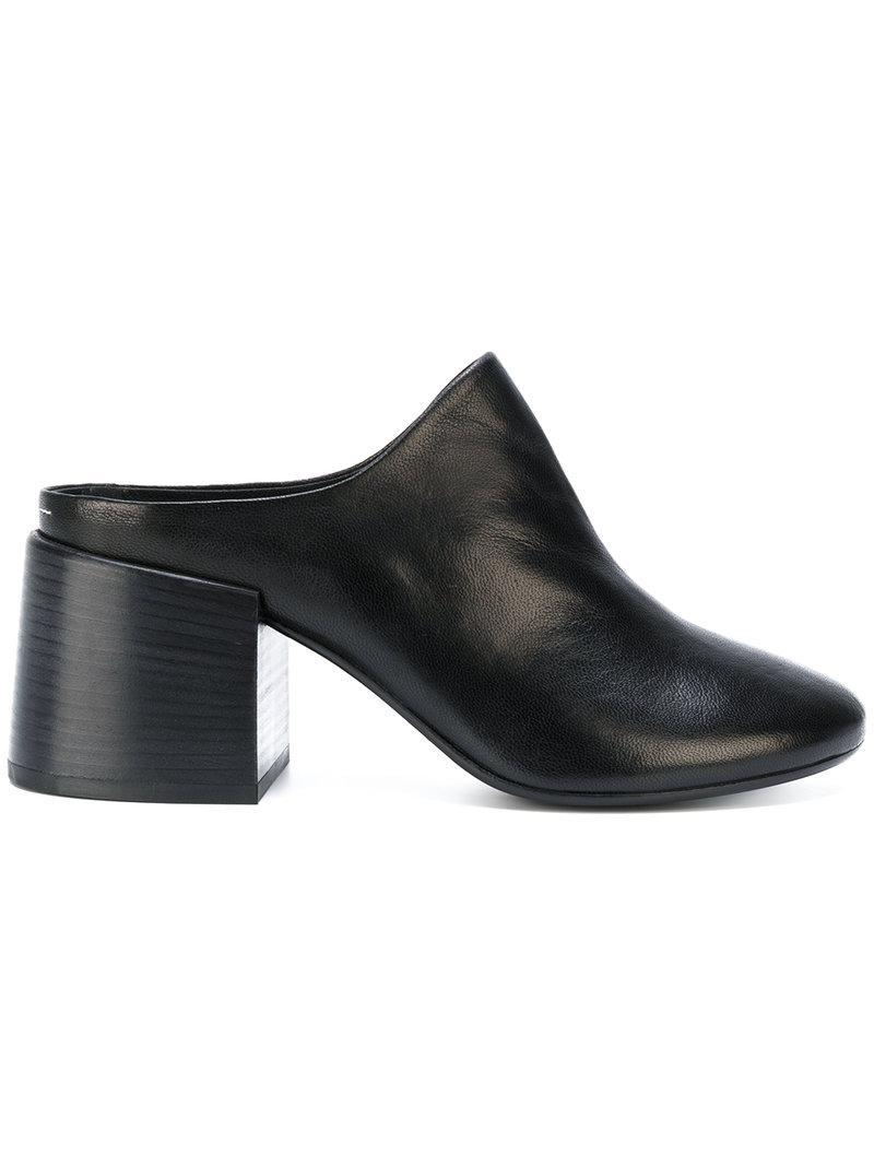 5cd137be5e7b MM6 by Maison Martin Margiela Block Heel Closed Toe Mules in Black ...