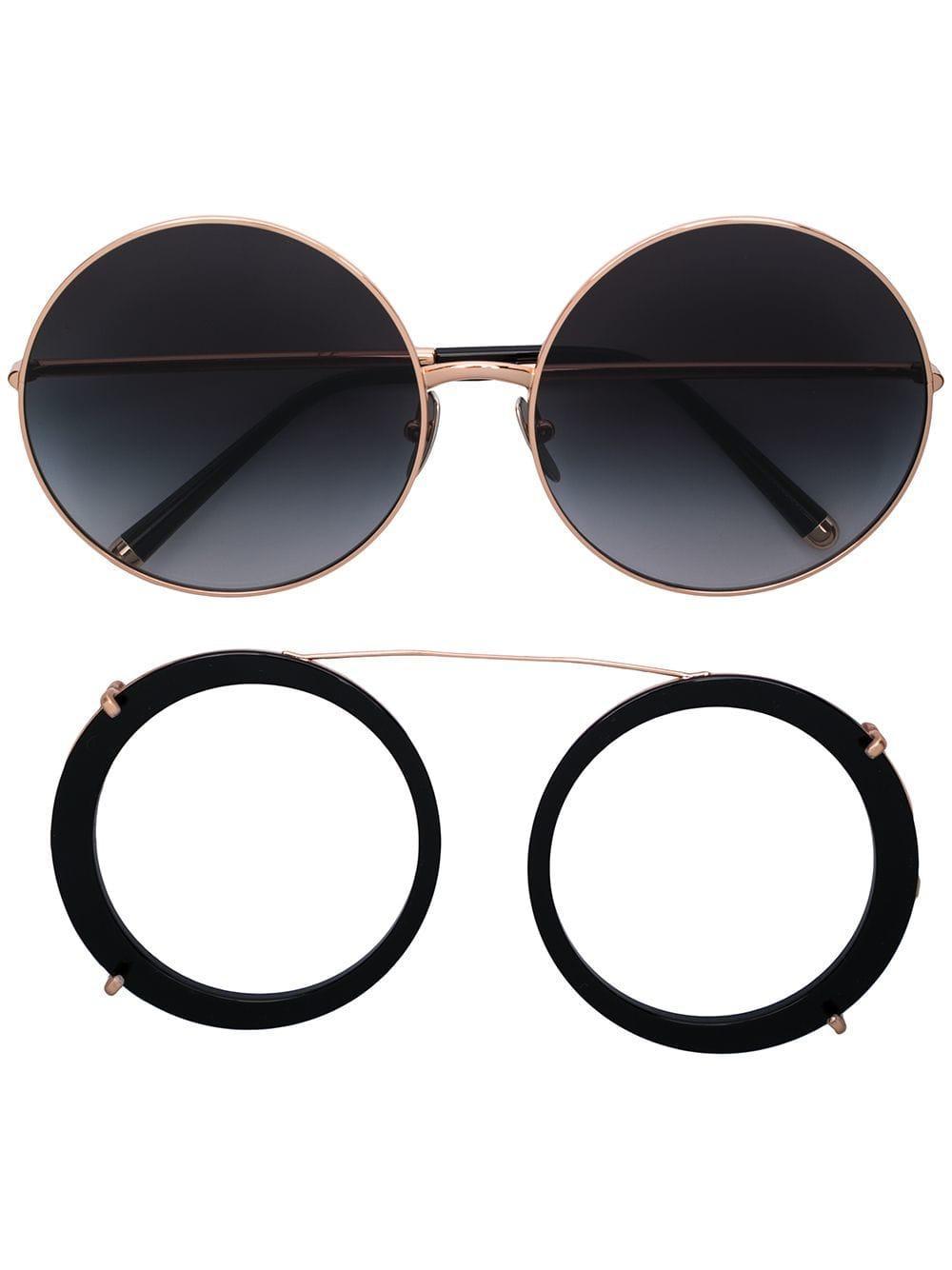 5ecab22a5324 Dolce   Gabbana - Metallic Limited Edition Clip-on Round Sunglasses - Lyst.  View fullscreen
