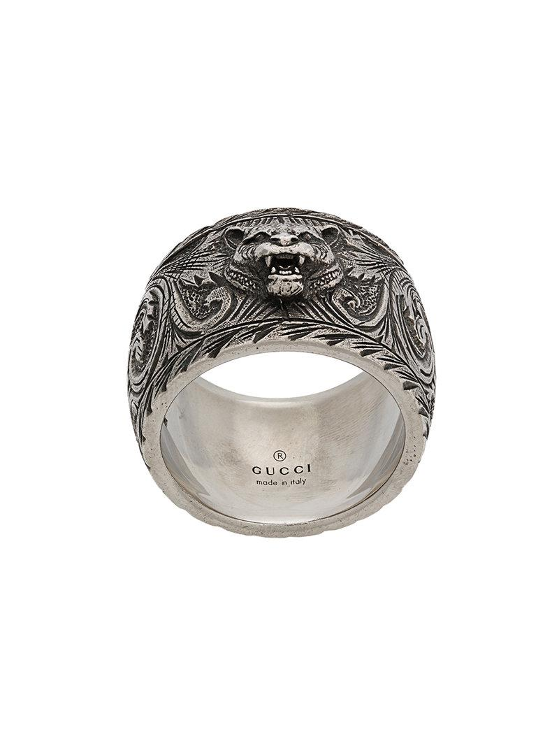 9fd2b213e Gucci Feline Head Ring in Metallic for Men - Lyst