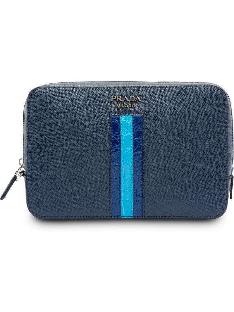 4ab5e4e55ea0ef Lyst - Prada Saffiano Leather Clutch Bag in Blue for Men